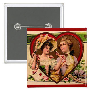 Victorian Valentines Couple Pinback Button