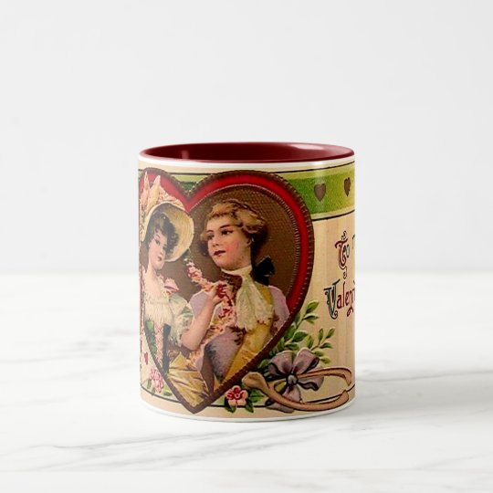 Victorian Valentines Couple Two-Tone Coffee Mug