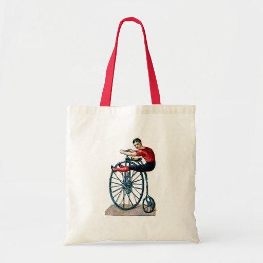 Victorian Velocipede Vintage bicycle Acrobat Canvas Bags