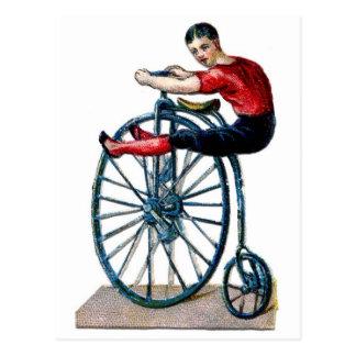 Victorian Velocipede Vintage bicycle Acrobat Postcard