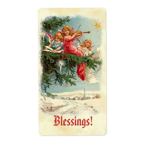 Victorian Vintage Angels in Tree Music Sticker Label