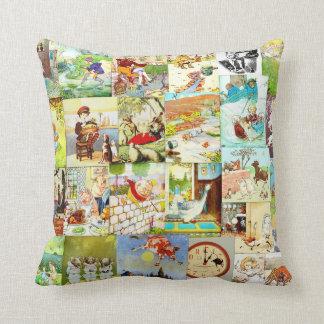 Victorian Vintage Childrens Nursery Rhymes Montage Throw Pillow