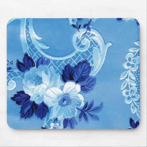 Victorian Vintage Floral Blue Wallpaper Mousepad