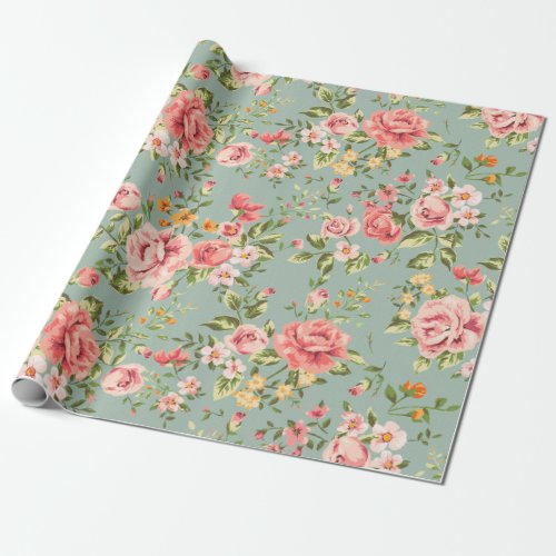Victorian Vintage Garden Floral Pattern Wrapping Paper