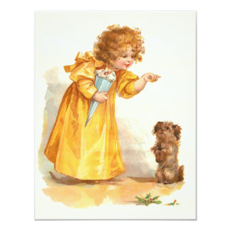 Victorian Vintage Girl's Party - 3 or 4 Year Old Card