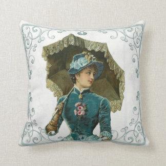 Victorian Vintage Lady with Sun Umbrella Throw Pillow
