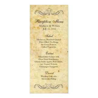 Victorian Vintage Ornate Reception Menu 4x9.25 Paper Invitation Card