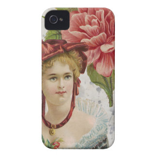 Victorian Vintage Red Rose Lady iPhone 4 Cover