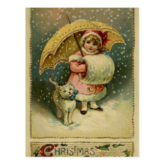 Victorian Vintage Retro Child and Cat Christmas Postcard