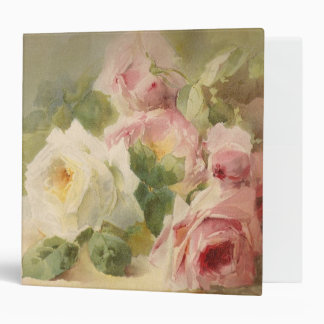 Victorian Vintage Rose Watercolor 3 Ring Binder