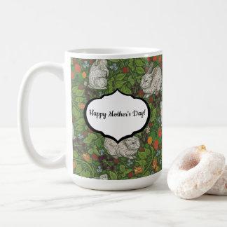Victorian Vintage White Bunny Rabbit in Garden Coffee Mug