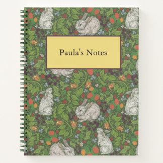Victorian Vintage White Bunny Rabbit in Garden Notebook