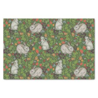 Victorian Vintage White Bunny Rabbit in Garden Tissue Paper