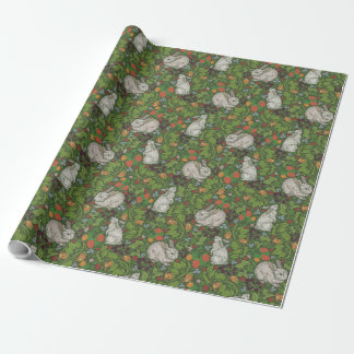 Victorian Vintage White Bunny Rabbit in Garden Wrapping Paper