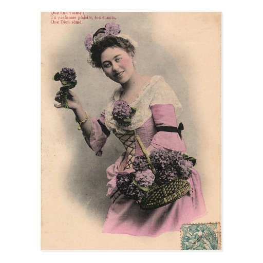 victorian violet lady postcard