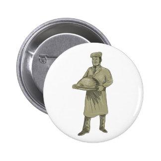 Victorian Waiter Serving Food Platter Drawing Pinback Button