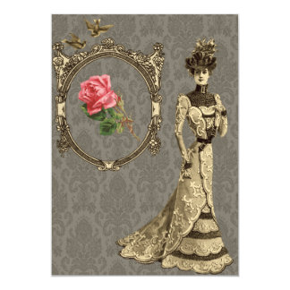 Victorian Wallpaper And Lady 5x7 Paper Invitation Card