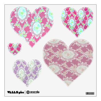 Victorian Wallpaper Floral Pink Purple Hearts Room Stickers