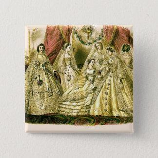Victorian Wedding Art Print Fashion Dress Pinback Button
