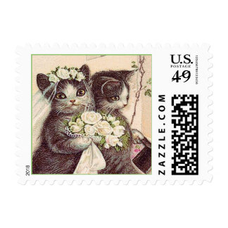 Victorian Wedding Cats Bride and Groom Stamp
