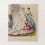 Victorian Wedding Dress 1886 French Fashion Plate Jigsaw Puzzle