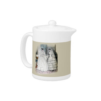 Victorian Wedding Dress Two Women Teapot