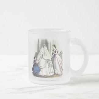 Victorian Wedding Mugcup Frosted Glass Coffee Mug
