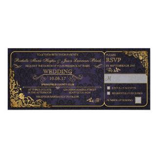 Victorian Wedding Ticket Invitation w/ RSVP