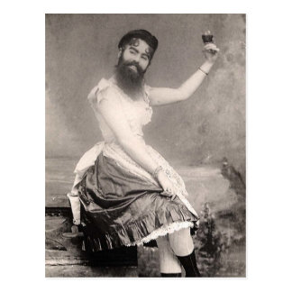 Victorian Weird a Woman with a Beard Postcard
