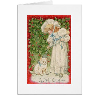 Victorian White Cat Christmas Greeting Card