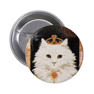Victorian White Cat Queen Of Hearts Button