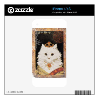 Victorian White Cat Queen Of Hearts Skin For iPhone 4