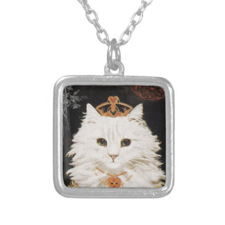 Victorian White Cat Queen Of Hearts Square Pendant Necklace