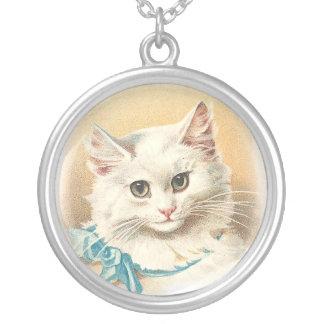 Victorian White Cat Round Pendant Necklace