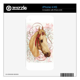 Victorian White Horse Decal For iPhone 4