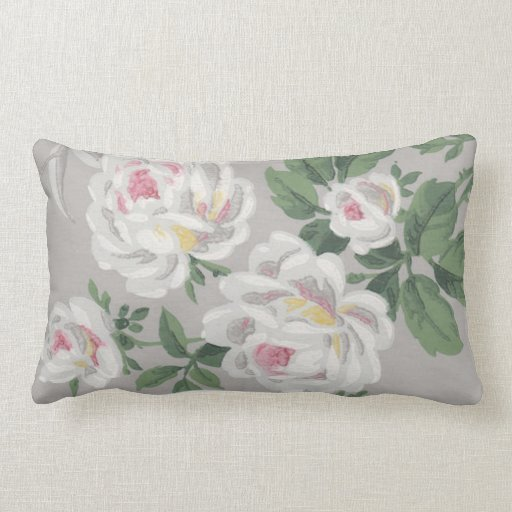 Victorian Floral Pillows : Victorian White Roses Floral Wallpaper Throw Pillow Zazzle