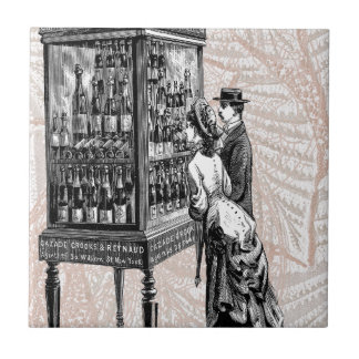 Victorian Wine Shopping Steampunk Man Woman Ceramic Tile