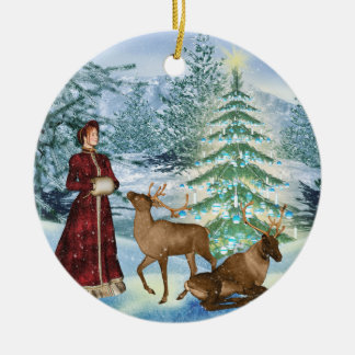 Victorian Winter Holiday Round Ornament