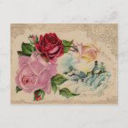 Victorian Winter Roses Vintage Postcard
