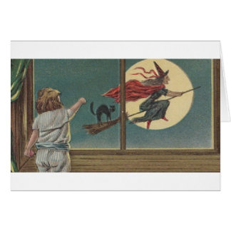Victorian Witch Befana Halloween Greeting Card