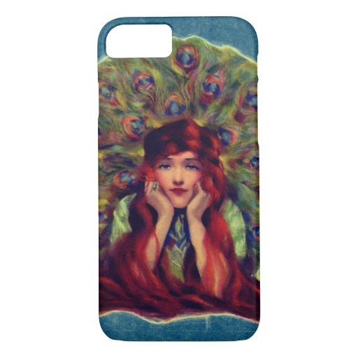 Victorian woman and peacock feathers iPhone 8/7 case