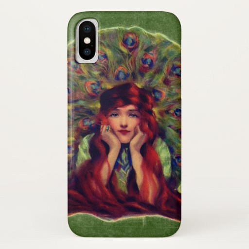 Victorian woman and peacock feathers iPhone x case