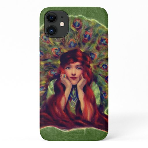 Victorian woman and peacock feathers iPhone 11 case