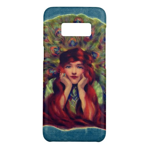Victorian woman and peacock feathers Case-Mate samsung galaxy s8 case