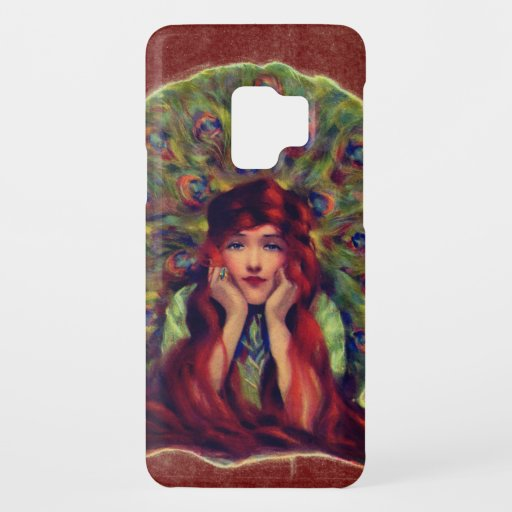 Victorian woman and peacock feathers Case-Mate samsung galaxy s9 case