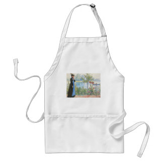 Victorian Woman and Summer Flowers Adult Apron