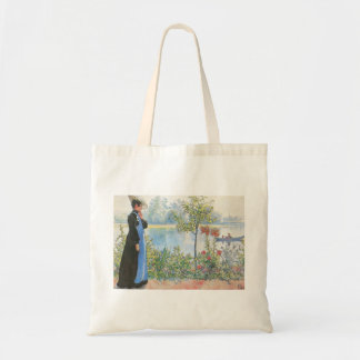 Victorian Woman and Summer Flowers Budget Tote Bag
