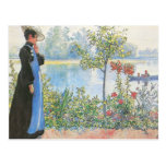 Victorian Woman and Summer Flowers Postcard