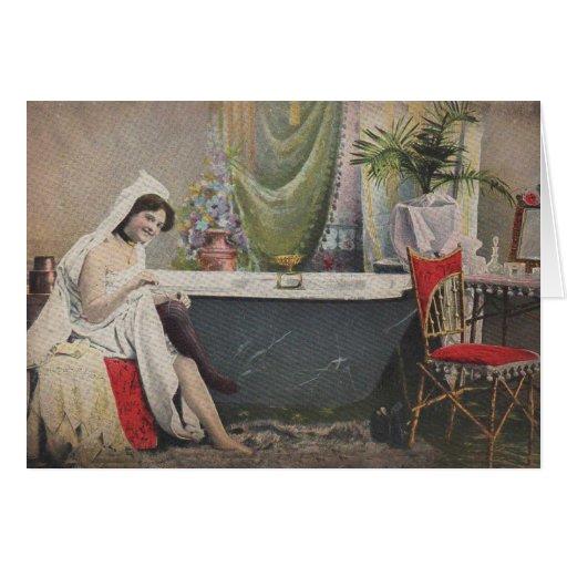 Victorian woman bathing card