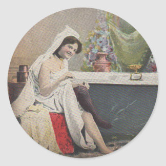 Victorian woman bathing classic round sticker